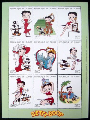 1998 MNH GUINEA BETTY BOOP STAMPS SHEET ANIMATED CARTOON NURSE STATUE OF LIBERTY