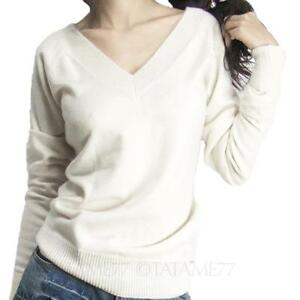 V Neck Jumper Ladies Top Wool Knitted Winter Cashmere Sweater Plus