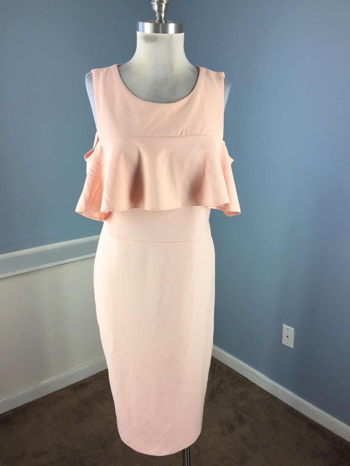 BEIGE ECI bluesh Pink Midi Cold Shoulder Ruffle dress Sheath L 10 12 Career Party