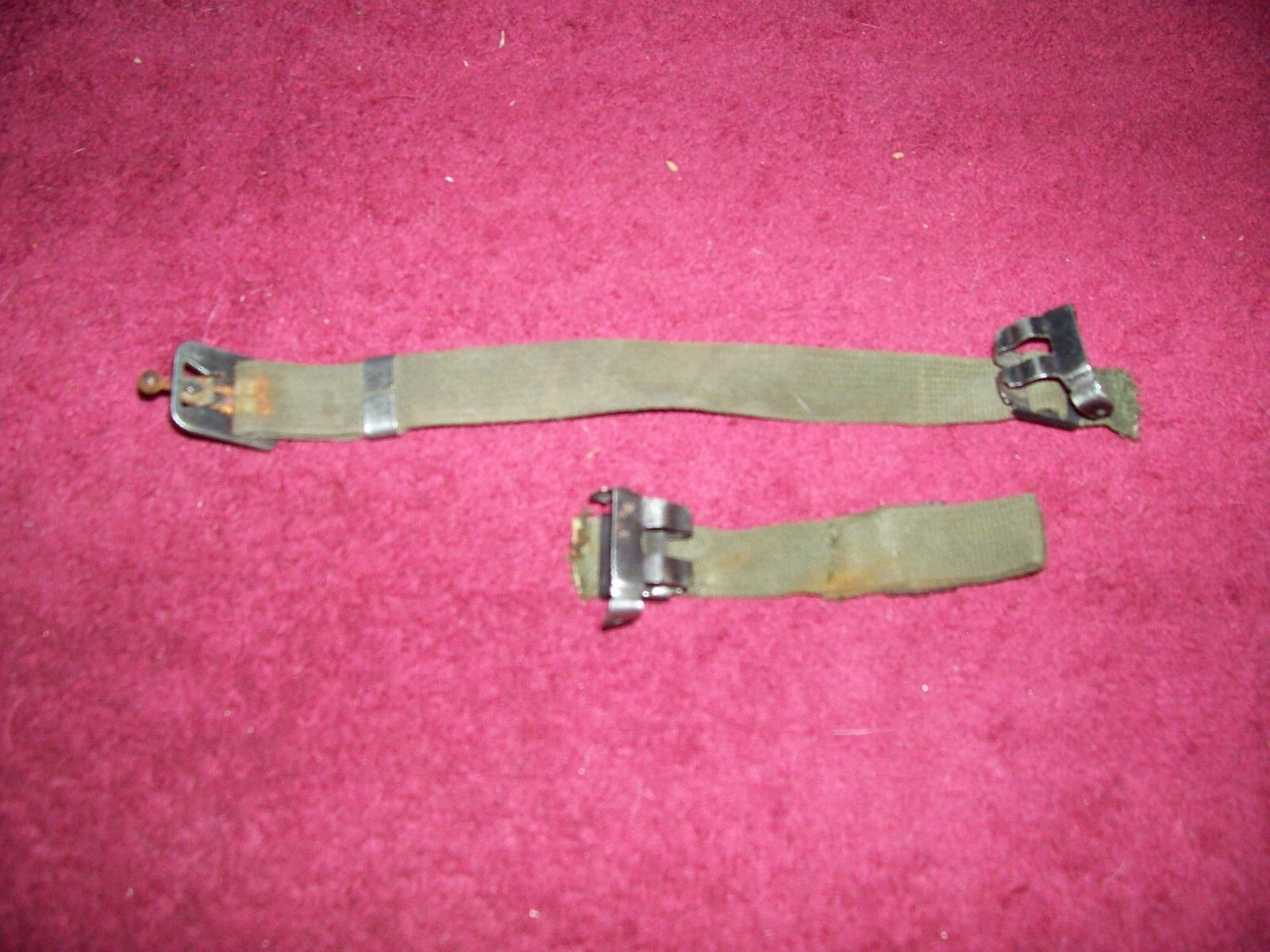 WWII blackened steel Helmet chin strap hardware lot of 4pcs E5175