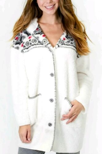 PJ Salvage Women/'s Cozy Cardigan Natural ivory Sherpa lined hood Size XL new