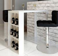 White Breakfast Table Counter High Bar Coffee Dining Room Modern Shelf Wine Rack
