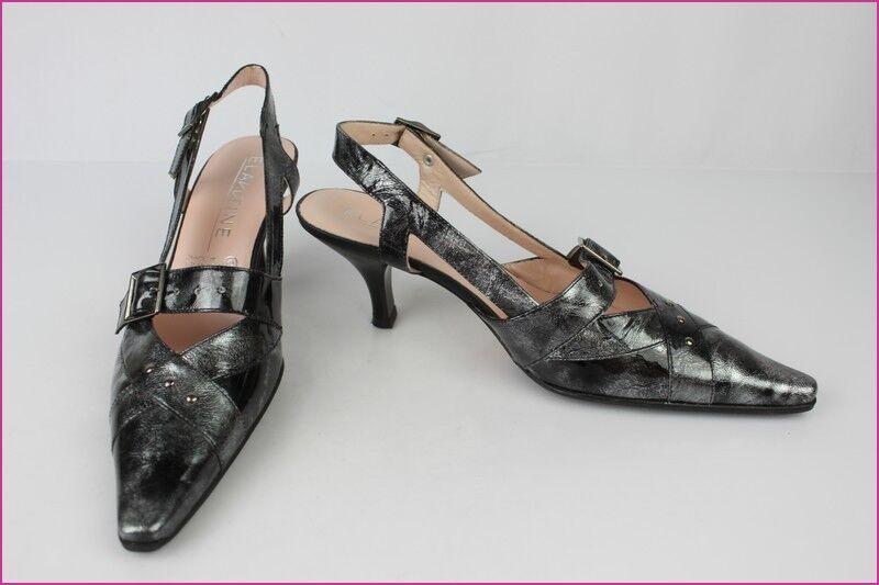 Escarpins ELANTINE Cuir Verni Nuancé black et silver T 39 Etat Neuf