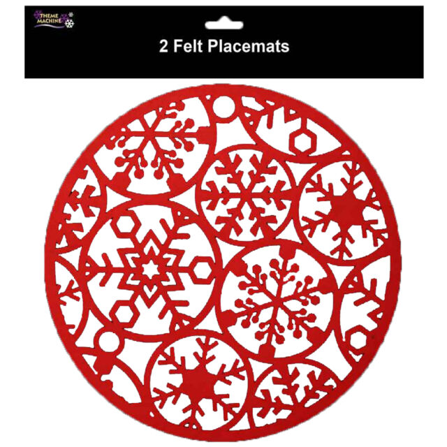 Christmas Tableware - 2 Pack Snowflake Placemats Red Felt Material 30cm x 30cm