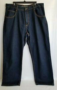 South-Pole-Jeans-Mens-Straight-Leg-Blue-Dark-Wash-Denim-Pockets-Zip-Size-40X34