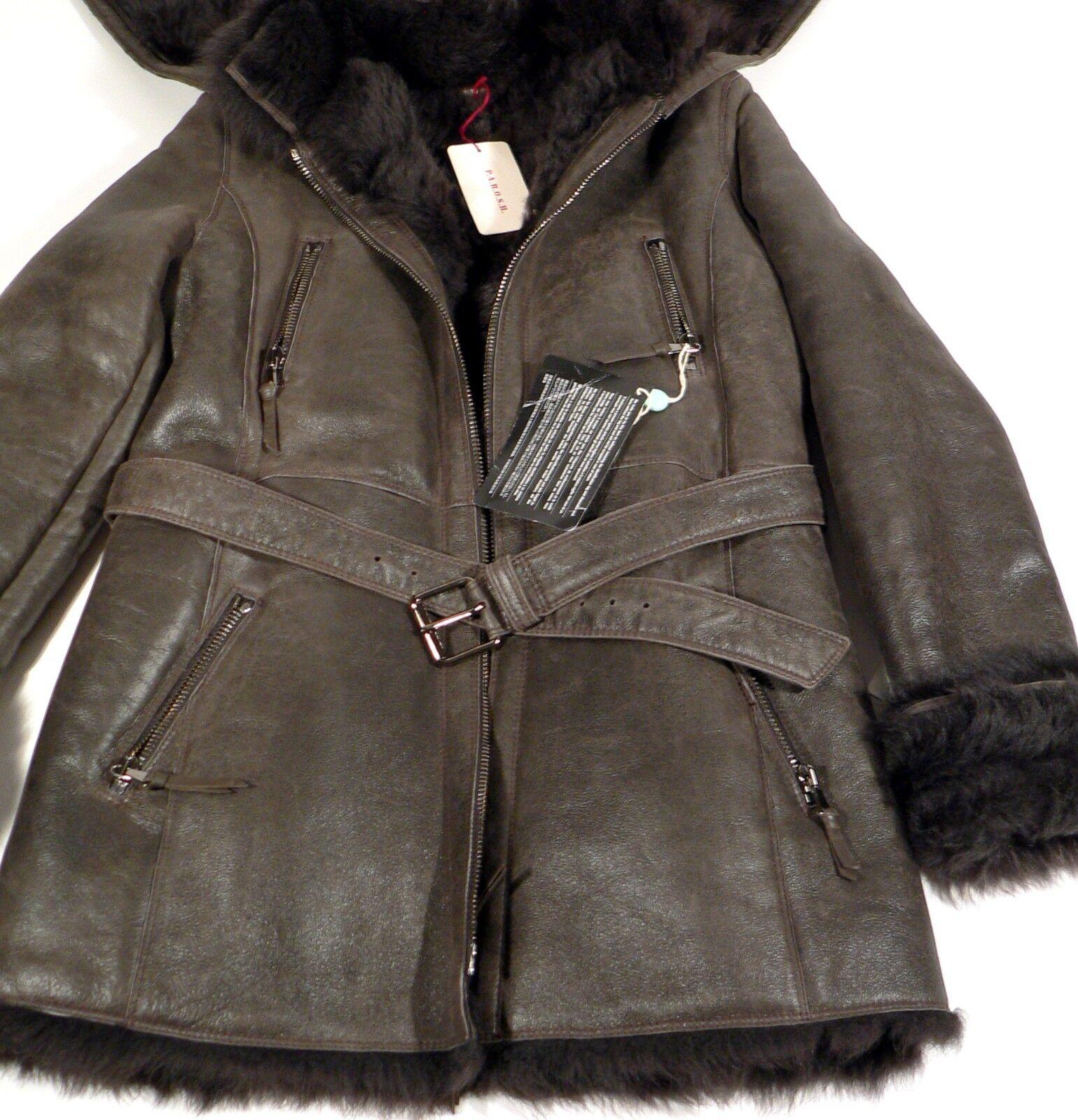 P.A.R.O.S.H.  Sheepskin Fur Fur Fur Lamb Leather Dark Brown Womens Coat Size L NWT 60b685