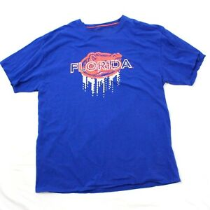 Majestic-Florida-Gators-T-Shirt-2XL-XXL-Textured-Spell-Out-Blue-Loose-Fit-Adult
