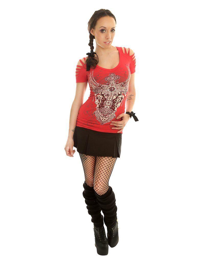Folter-LA VENDETTA VENDETTA VENDETTA Camicia Top da donna-, goth, rock, biker b29c62