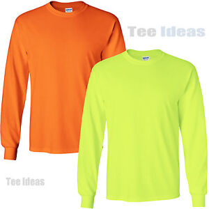 Gildan-High-Visibility-Long-Sleeve-T-Shirts-Safety-Green-and-Orange-Tees-G240