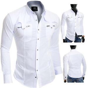 D-amp-R-Men-039-s-White-Casual-Shirt-Metal-Zip-Pockets-Slim-Fit-Cotton-Party-Clubbing
