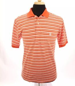 Brooks-Brothers-Mens-Performance-Polo-Shirt-Original-Fit-Stripe-Orange-Sz-Medium