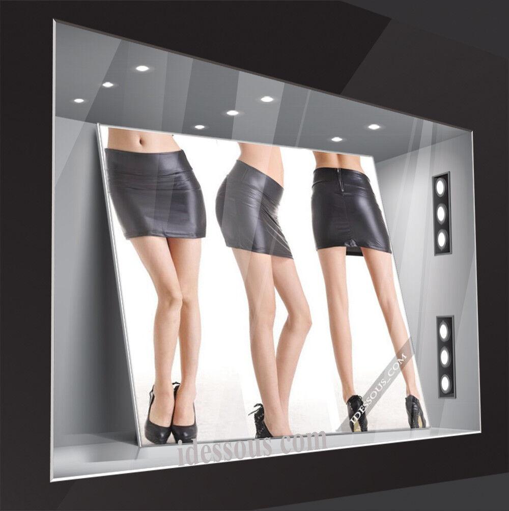 Damen Leder Look Mini Rock schwarz sexy Business Bleistift Sommer kurz XS S M L