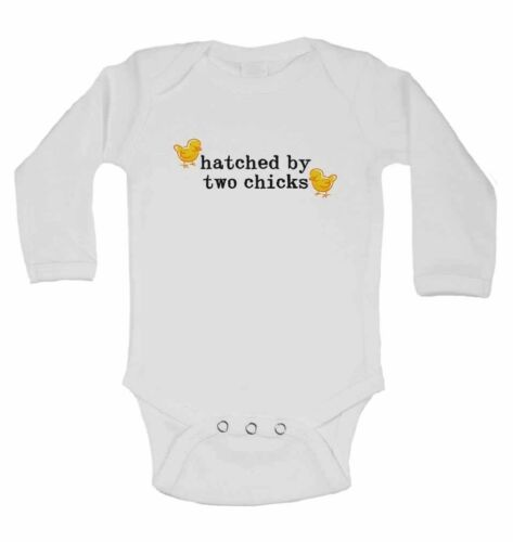 New Personalised Long Sleeve Baby Vests for Boys Hatched By Two Chicks Grils