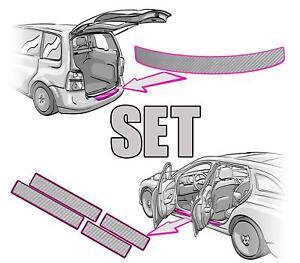 VW TOURAN 1T Ladekantenschu<wbr/>tz + Einstiegsleist<wbr/>en SET 3D CARBON SILBER