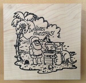 image is loading mounted rubber stamps santa merry christmas beach grill - Merry Christmas Beach Images