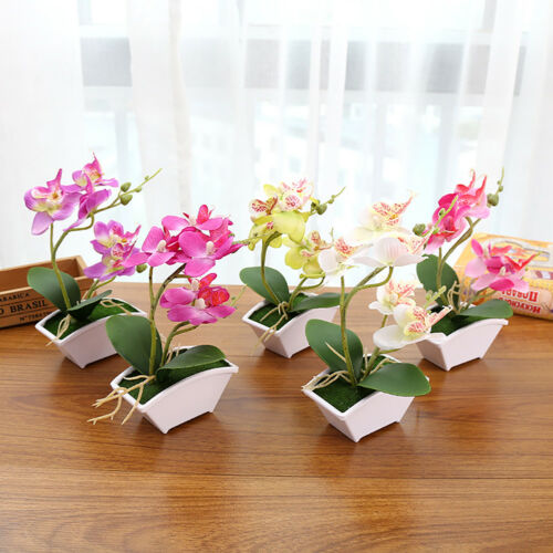 CO Artificial Butterfly Orchid Flower Home Decor Fake Bonsai With flower pot In