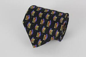 ROBERT TALBOTT Studio Silk Tie. Black w Yellow & Blue Floral.