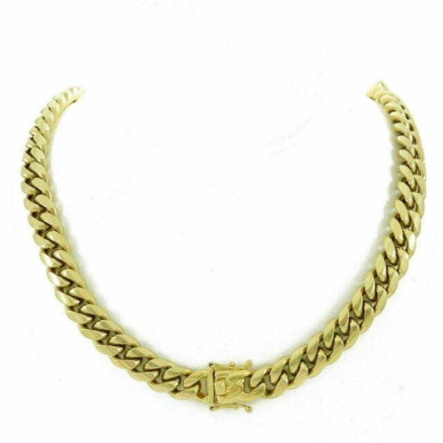 Bling Bling NY Mens Miami Cuban Link Chain 18k Yellow Gold Plated Stainless Steel 6-18mm Thick Necklace 30 inches Anti-Tarnish