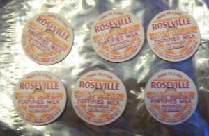 ROSEVILLE CREAMERY CO. lot of 6 Milk Caps
