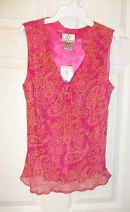 ICE-Sz-M-Sleeveless-Ruffled-Embellished-Top-Pink-Yellow-Print-Blouse