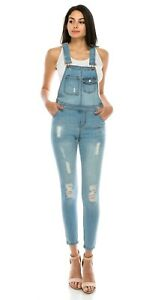 d098adec5de9 Image is loading Women-Junior-Denim-jumper-Blue-Jumpsuit-Romper-Overall-