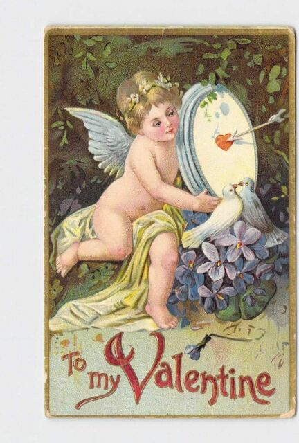 ANTIQUE POSTCARD VALENTINE CUPID HOLDING HEART TARGET LOVE BIRDS VIOLETS EMBOSSE