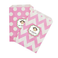 Pink Monkey Personalized Baby Shower Birthday Favor Goodie Bags - Lot Of 36