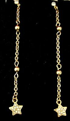 """3"""" Gold Tone Extra Long Slim Diamante Sparkle Bling Star Drop Earrings Boxed Jewelry & Watches Fashion Jewelry"""