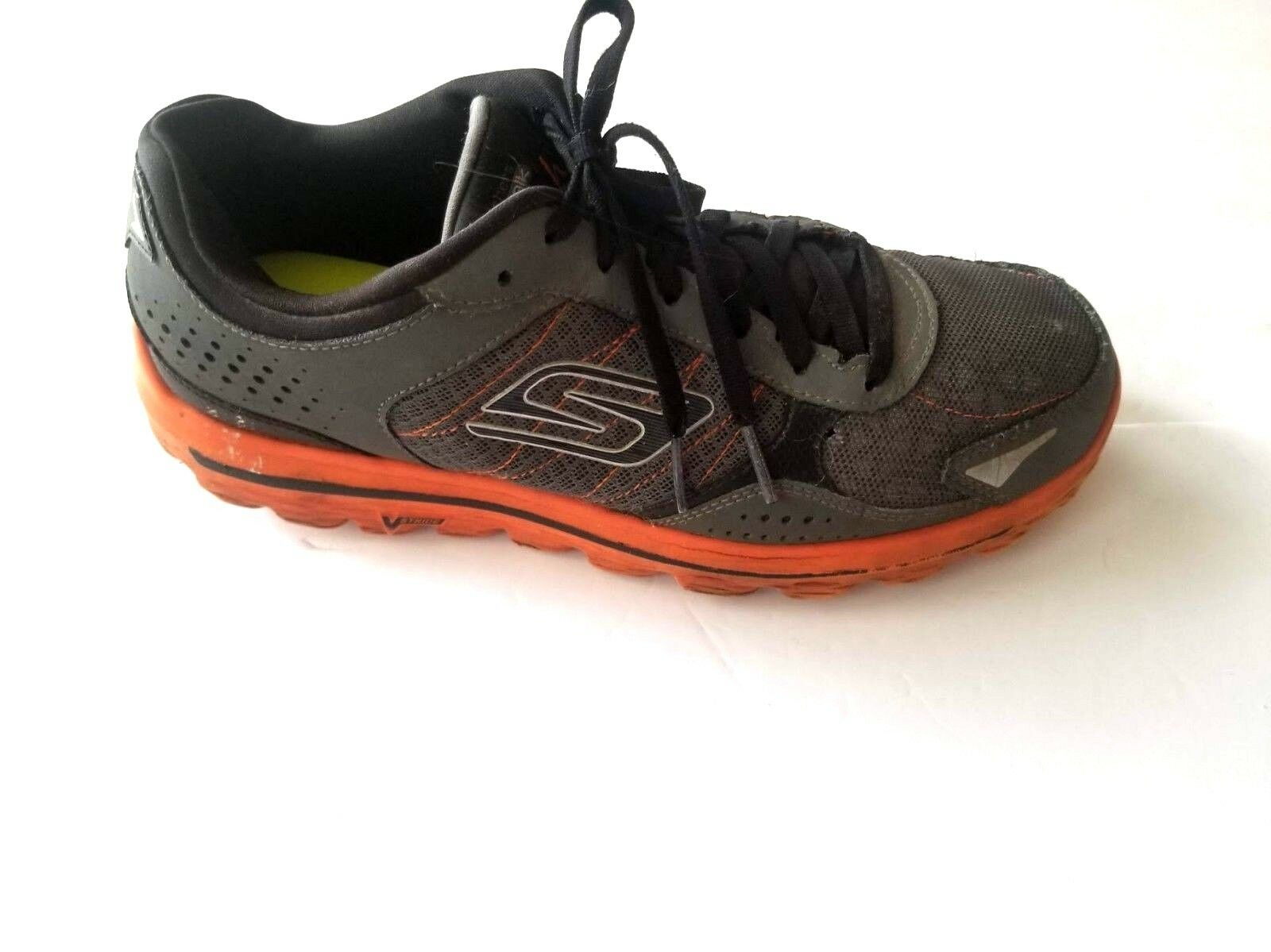 Skechers Athletic Sneaker Leather Gray Orange Mens Shoes Comfortable best-selling model of the brand