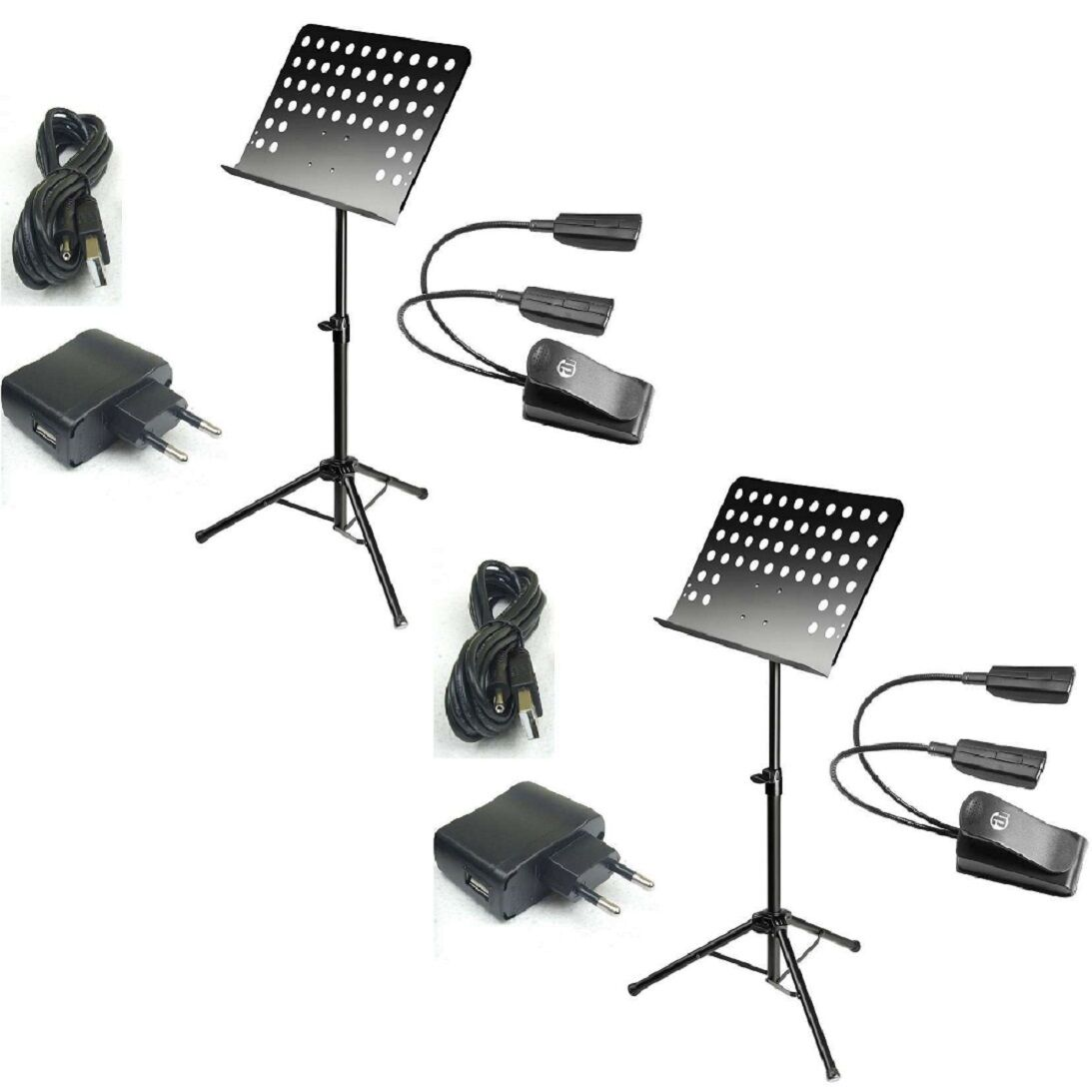 2 x Notenständer zerlegbar + 2-Arm Pultlampe SMS2PRO + USB-Netzteil, Notenstativ