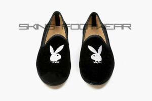 Mocassins en velours noir faits à la main et chaussures à logo Playboy brodées