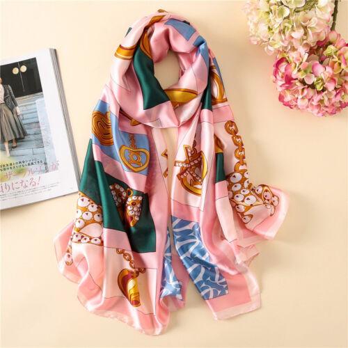 Women Silk Scarf Digital Print Big Size Shawl Luxury Brand Women Wrap 70*35 Inch