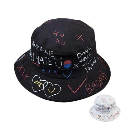 PHILSP Men Reversible Cotton Bucket Hat Harajuku Letters Graffiti Fisherman Cap White