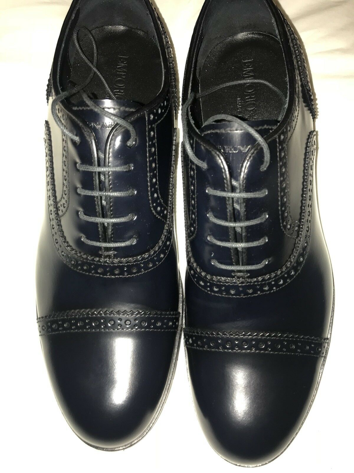 Emporio Armani Mens Leather schuhe schuhe schuhe Navy 7 41 New ee86a3