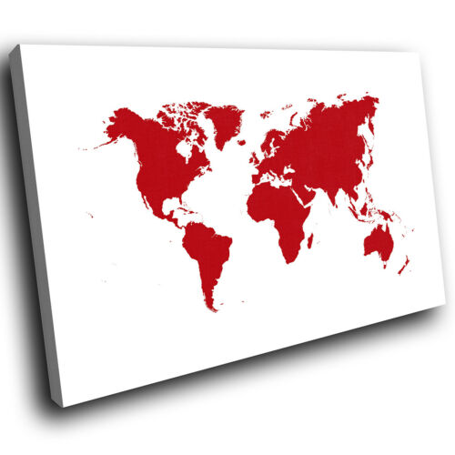 ZAB047 Red World Map Cool Modern Canvas Abstract Home Wall Art Picture Prints