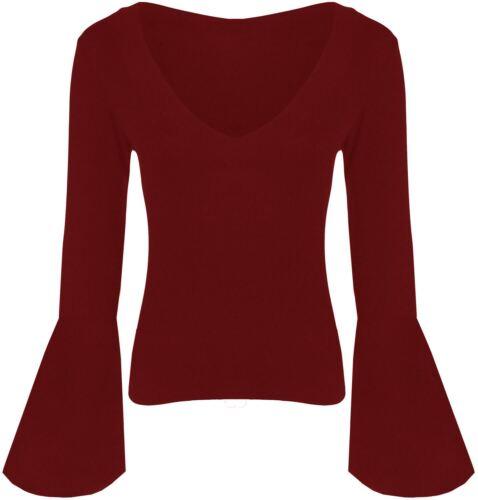 Neue Damen-lange Glockenärmel Jersey Stretch Oberteile 36-42