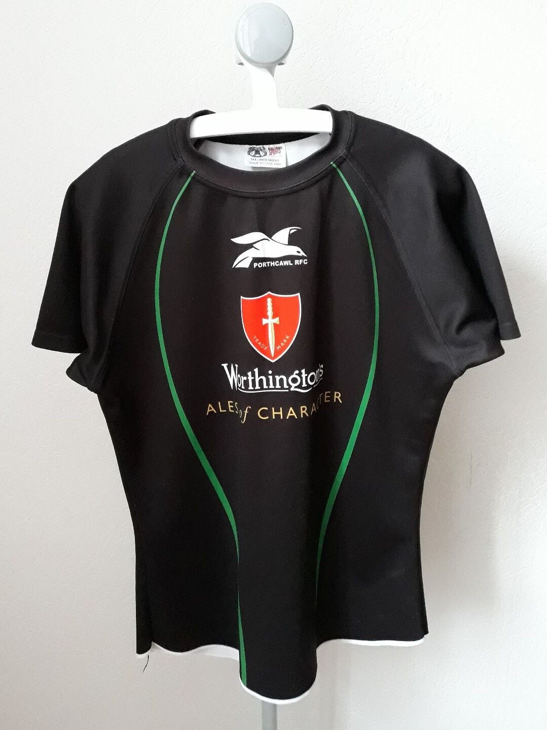 Porthcawl walisisches Rugby-Shirt Bulldog Sport L Large Wales player issue rare
