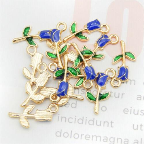 Enamel Alloy Mixed Colors Rose Flowers Pendant Charms DIY Accessories 20pcs//pack