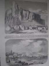 Jewish camp at Gibraltar and view of Malaga Spain 1860 old prints