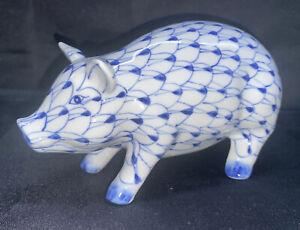 Vintage Pig PORCELAIN Figurine ANDREA BY SADEK Blue White Fishnet HAND PAINTED