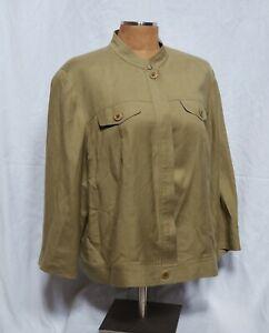 Judith-Hart-Women-039-s-Green-Linen-Blend-Blazer-Size-18W