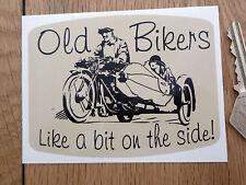 "Old Bikers Like A Bit On The Side. Classic Sidecar STICKER 4"" Bike Motorcycle"
