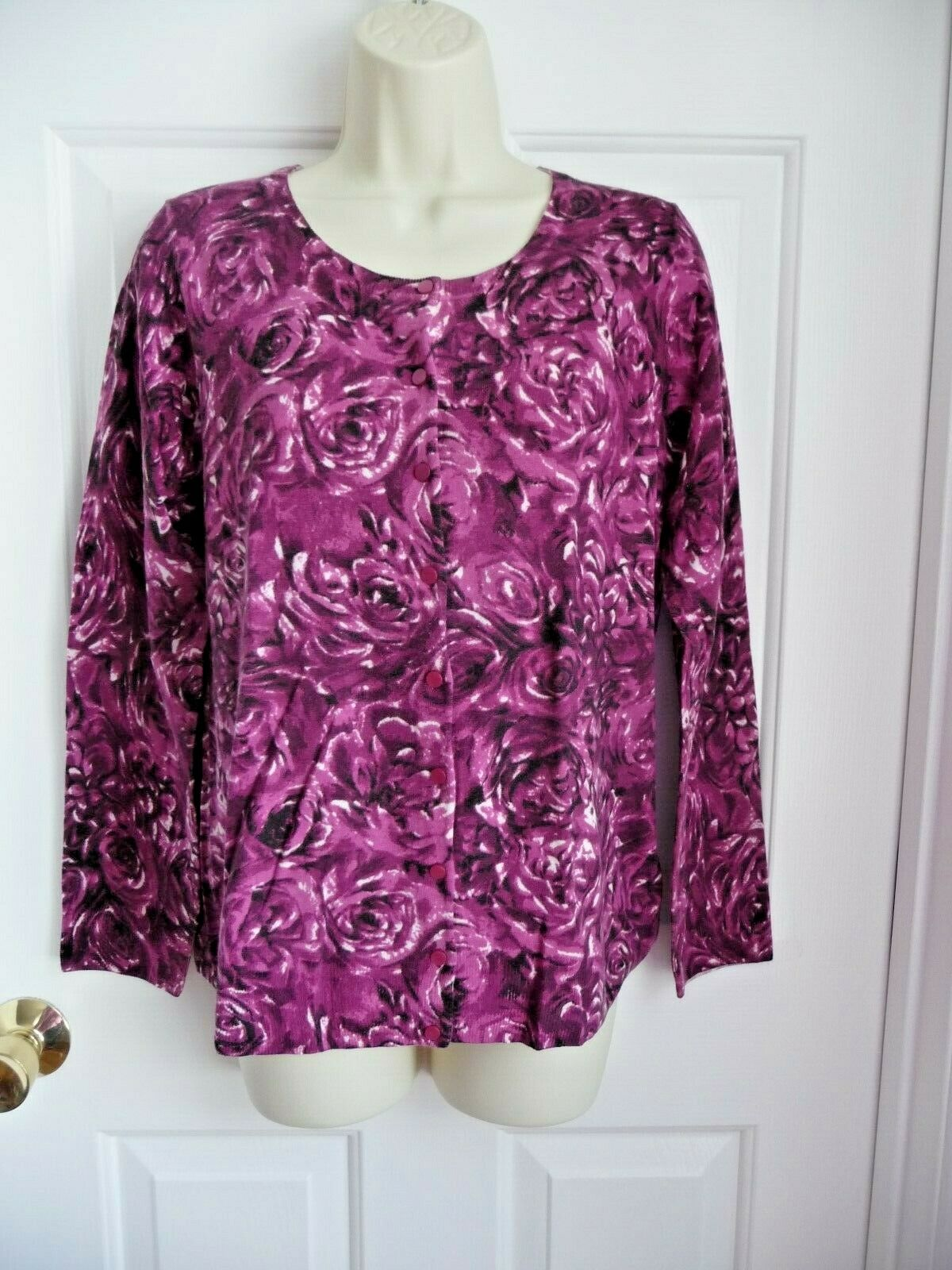 Talbots Sweater M NWT  100% Cashmere Cardigan Fuchsia pinks Button Down