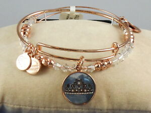 Details About Alex And Ani Rose Gold Art Infusion Clear Beaded Queen S Crown Bracelet Set 58