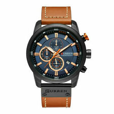 Curren Mens PU Leather Band Strap Wristwatch Sports Military Quartz Watch 8291