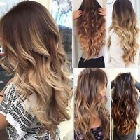 Newest Ombre 3/4 Full Head Clip in Hair Extensions Real Brown Black as Human k76