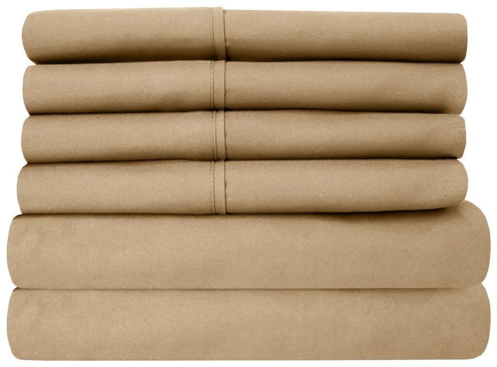 Water Bed Sheet Set 100% Cotton 1000 Thread Count All Size Taupe Solid