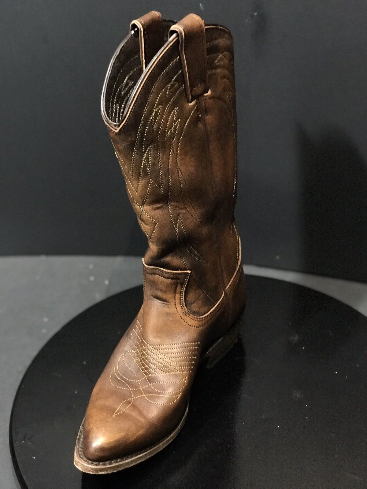 FRYE 77689 BILLY PULL ON BROWN LEATHER COWBOY WESTERN WOMEN BOOTS SIZE 7 B