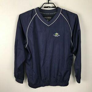FootJoy-Mens-Navy-Blue-V-Neck-Golf-Pullover-Windbreaker-Northern-Hills-Logo-Sz-M