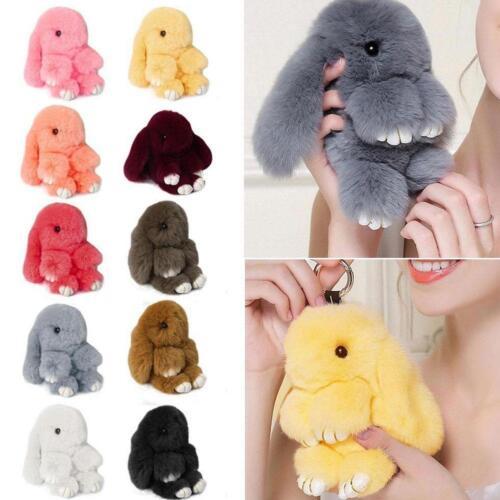 Faux Rabbit Fur Bunny Pom Ball Doll Toy Keychain Charm Handbag Pendant